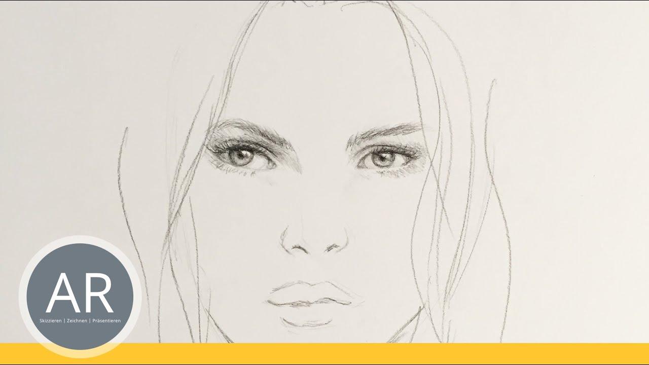 Gesichter Zeichnen. Mit Wenig Aufwand Ein Gesicht Skizzieren.  Porträt-Zeichenkurse Akademie Ruhr bestimmt für Gesicht Zeichnen Anleitung