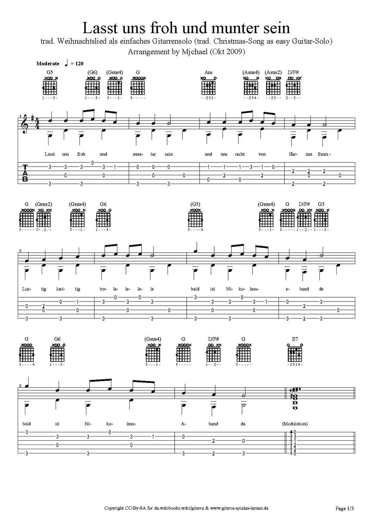 Gitarre: Melodiepicking - Lasst Uns Froh Und Munter Sein in Lied Lasst Uns Froh Und Munter Sein