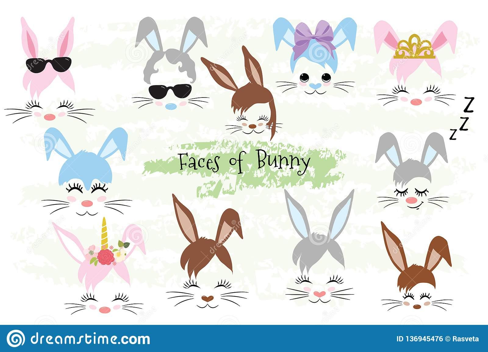 Glückliches Geschenk Osterhasen-Gesicht Clipart Ostern verwandt mit Osterhasen Gesicht