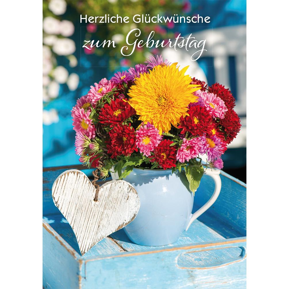 Glückwunschkarte Herzliche Glückwünsche Zum Geburtstag (6 Stck.) Motiv Herz  Und Blumenstrauß über Glückwünsche Zum Geburtstag Bilder