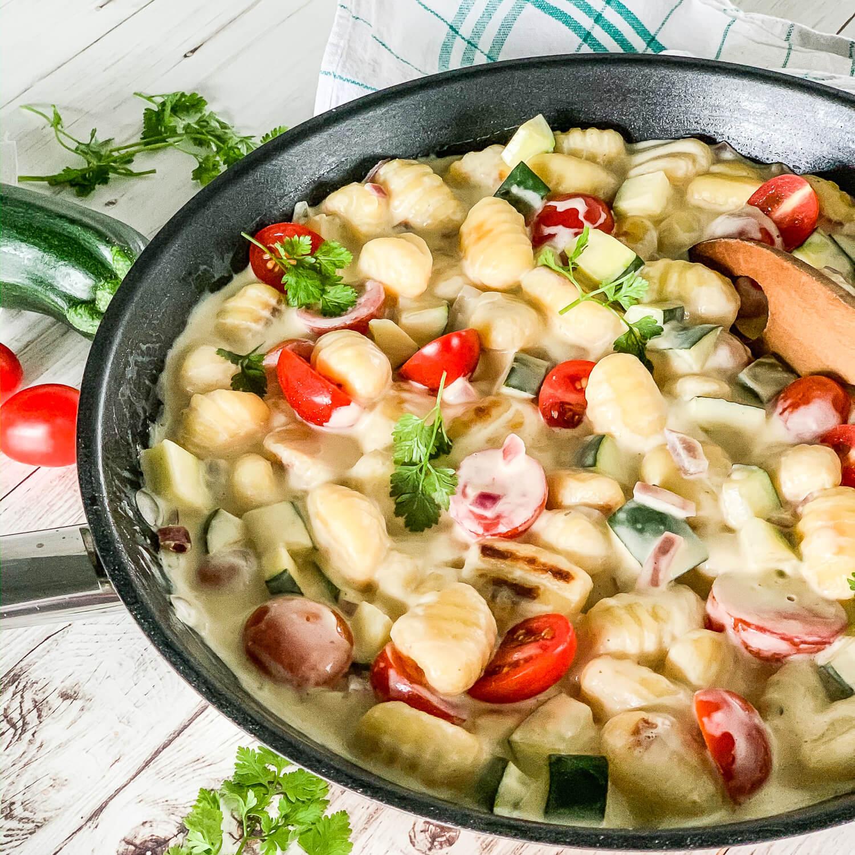 Gnocchi-Gemüse-Pfanne Mit Zucchini + Tomaten mit Einfache Schnelle Rezepte Ohne Fleisch