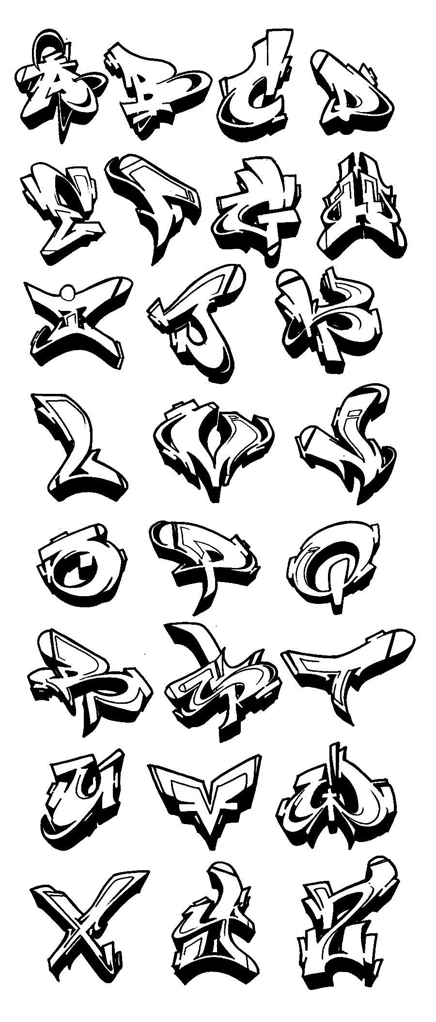 Graffiti Alphabet Wildstyle A Z 3D Graffiti Collection innen Graffiti Buchstaben Vorlagen A-Z