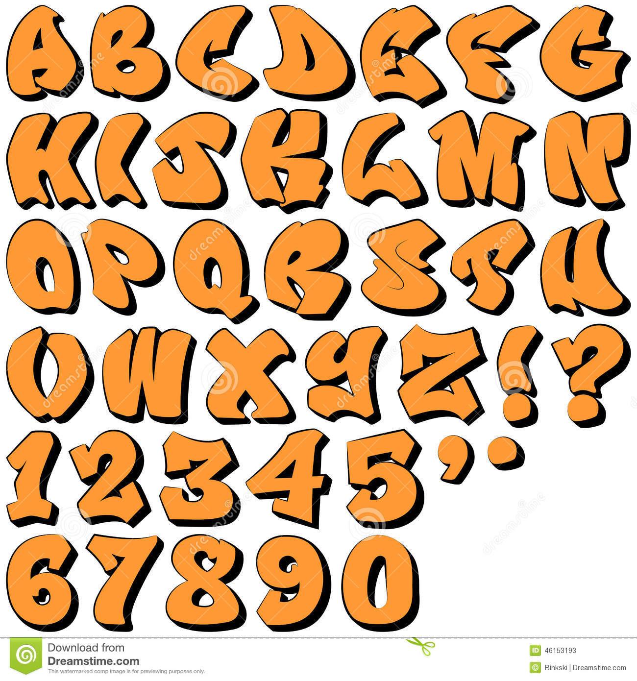 Graffiti-Buchstaben Und Zahlen Vektor Abbildung für Graffiti Schriftarten Abc