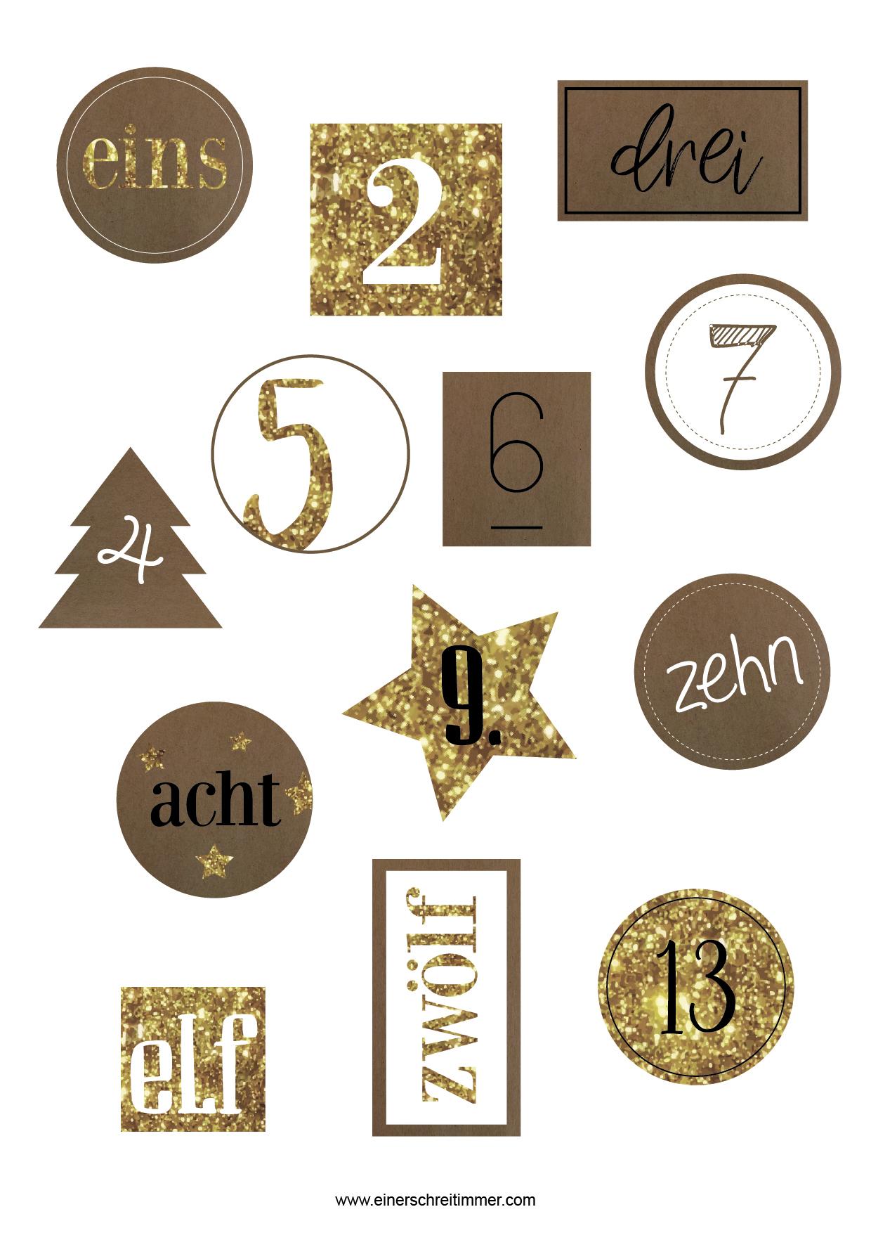 Gratis-Download Für Adventskalenderzahlen › ☆ Mamablog verwandt mit Adventskalender Zahlen Druckvorlage