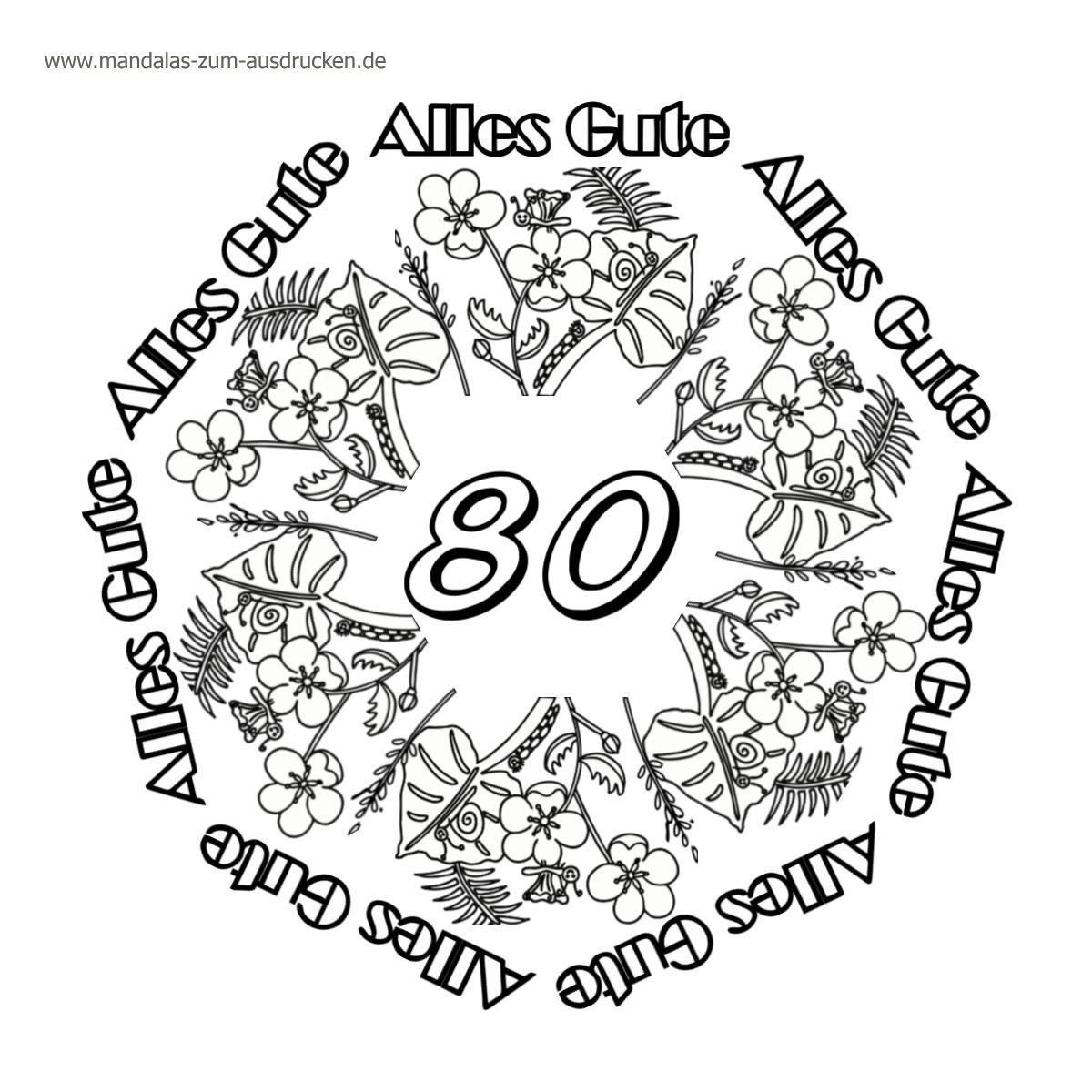 Gratis Mandalas Happy Birthday 80 Zur Downloadseite verwandt mit Mandalas Geburtstag