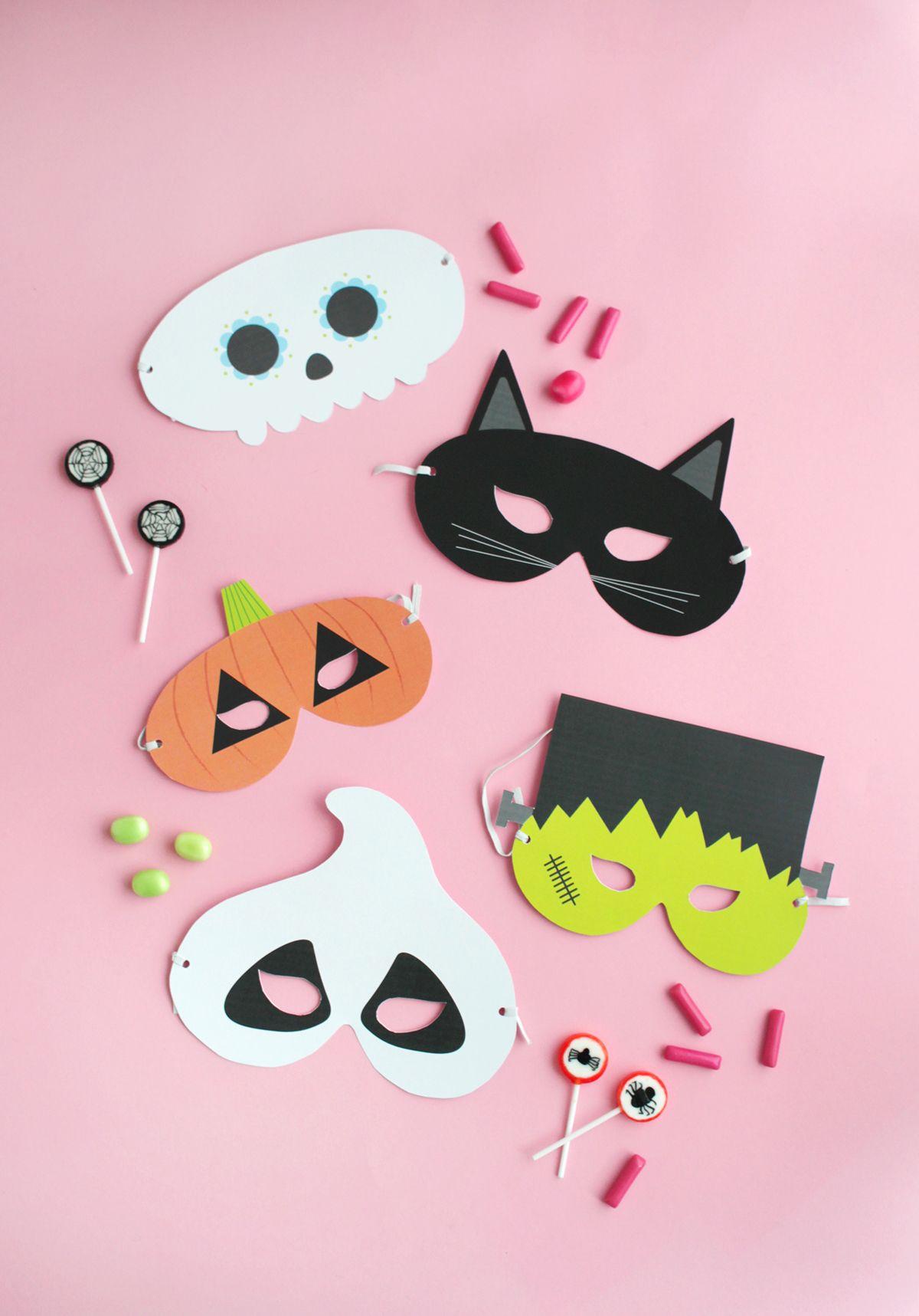 Gratis Printable: Halloween Masken (Mit Bildern) | Halloween ganzes Kindermasken Basteln