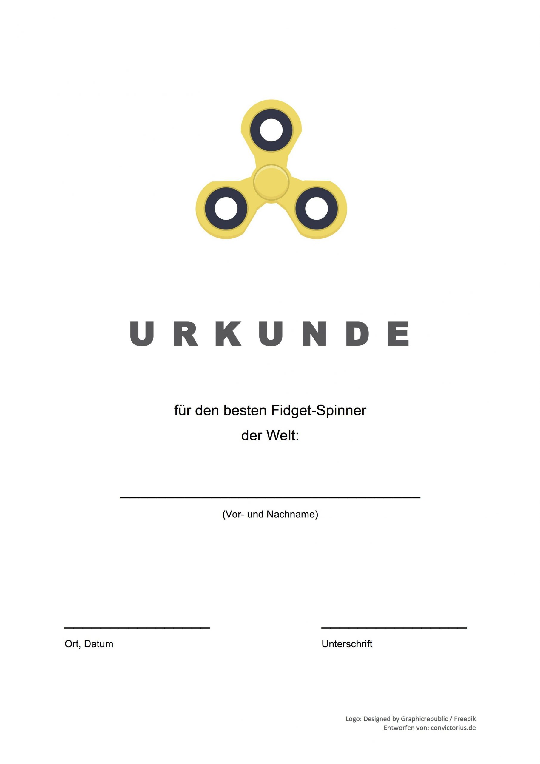 Gratis-Vorlage: Fidget Spinner Urkunde (Word/pdf) (Mit bestimmt für Lustige Urkunden Zum Ausdrucken Kostenlos