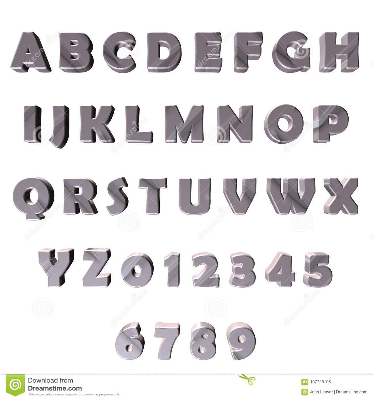 Graue 3D Buchstaben/alphabet/zahlen Stock Abbildung bei Zahlen In Buchstaben