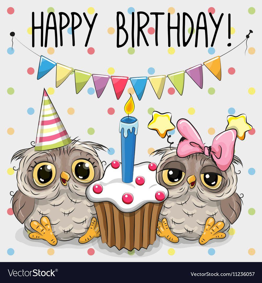 Greeting Card Two Cute Cartoon Owl Vector Image On verwandt mit Geburtstagsbilder Für Kinder