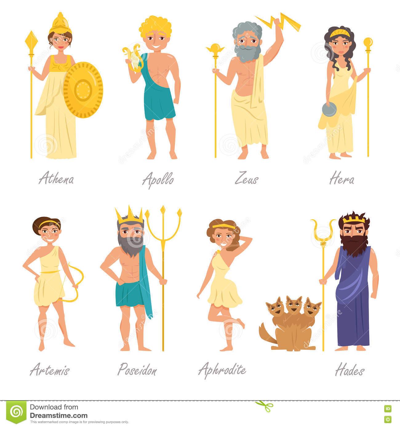 Griechische Götter Flach Vektor Abbildung. Illustration Von bestimmt für Griechische Götter Bilder Und Namen