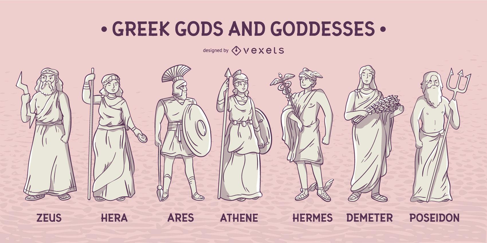 Griechische Götter Und Göttinnen Gesetzt - Vektor Download verwandt mit Griechische Götter Bilder Und Namen