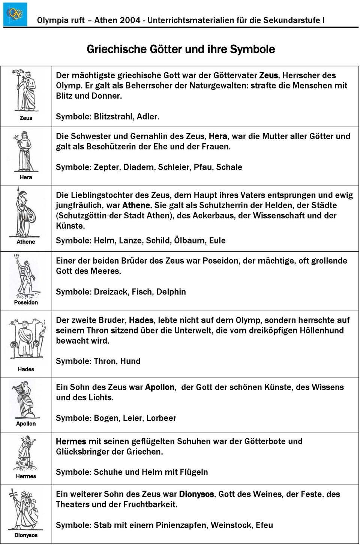 Griechische Götter Und Ihre Symbole - Pdf Kostenfreier Download bestimmt für Griechische Götter Bilder Und Namen