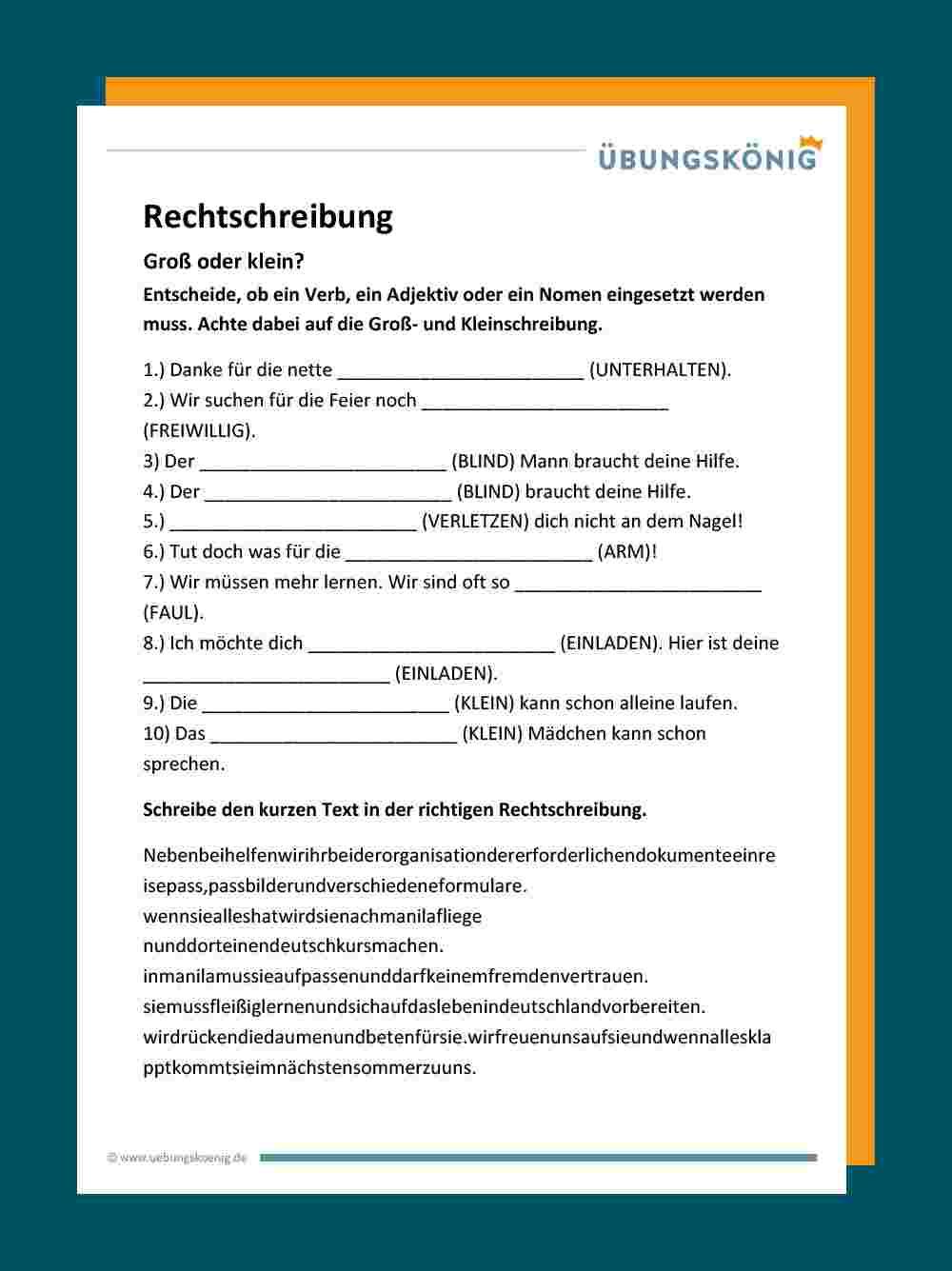 Groß- Und Kleinschreibung innen Rechtschreibung 4 Klasse Arbeitsblätter