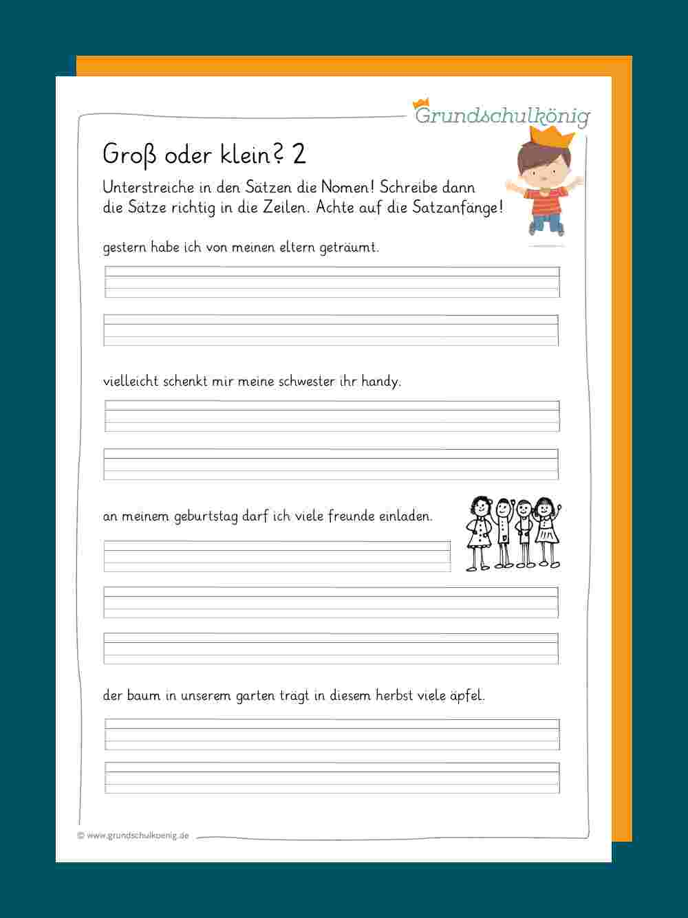 Groß- Und Kleinschreibung mit Deutsch 2 Klasse Volksschule Übungsblätter