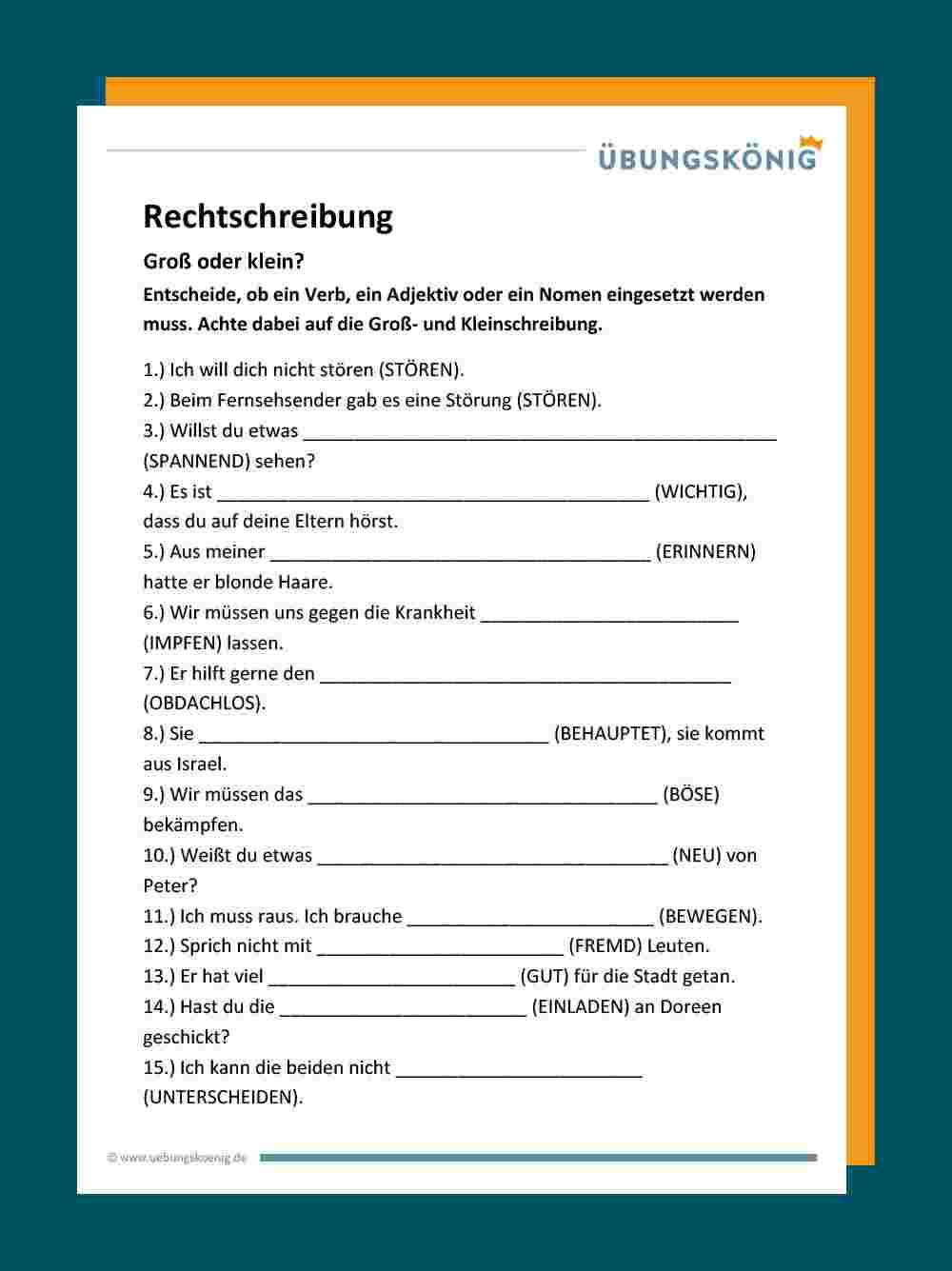 Groß- Und Kleinschreibung über Deutsch 3 Klasse Nomen Verben Adjektive Übungen