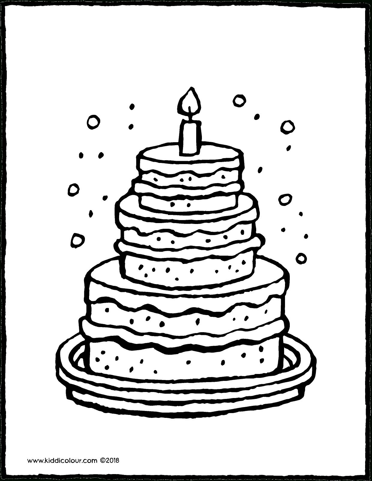 Große Torte Mit Einer Kerze - Kiddimalseite bestimmt für Ausmalbild Torte