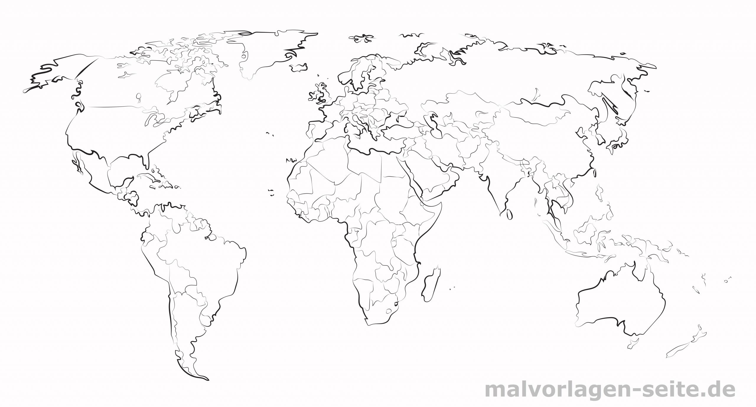 Große Weltkarte Zum Ausdrucken Und Selber Gestalten bestimmt für Weltkarte Umrisse