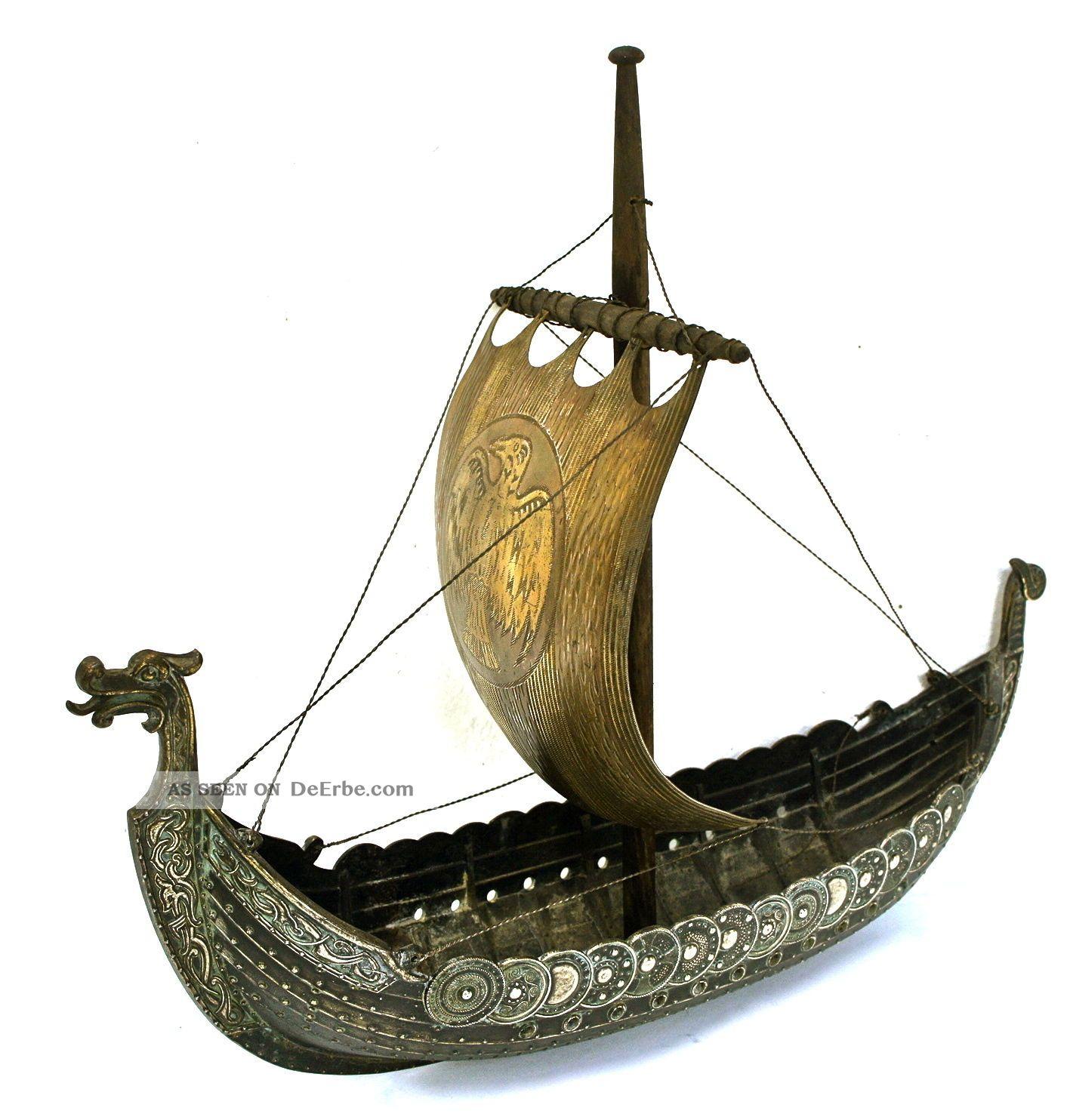Großes Wikinger - Schiff - Modell Aus Bronze, Auf bestimmt für Modell Wikingerschiff