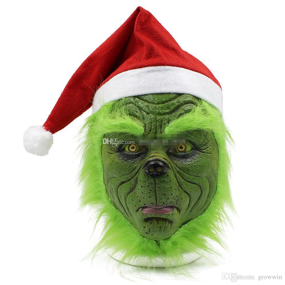Großhandel Wie Der Grinch Weihnachten Gestohlen Hat Hut Kopfmaske 2018 Der  Neuen Kinder Für Erwachsene Halloween Party Cosplay Naturlatex bei Wie Der Grinch Weihnachten Gestohlen Hat
