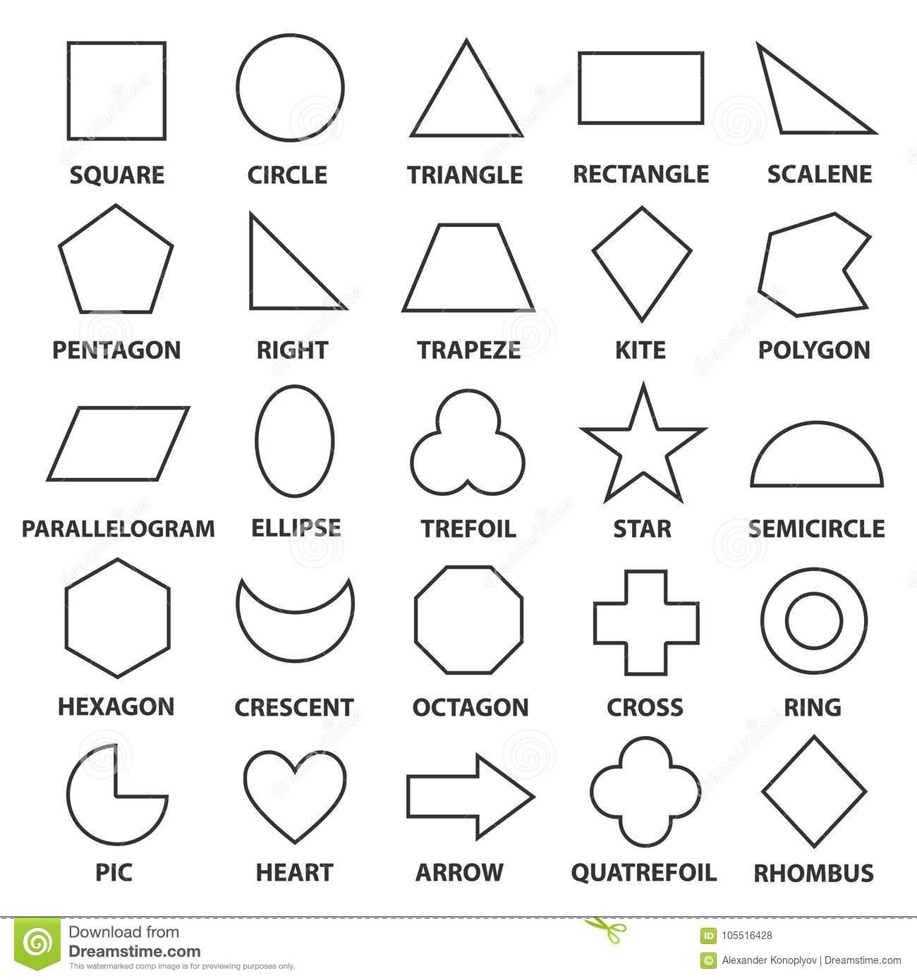 Grundlegende Geometrische Formen Vektor Abbildung für Mathematische Formen