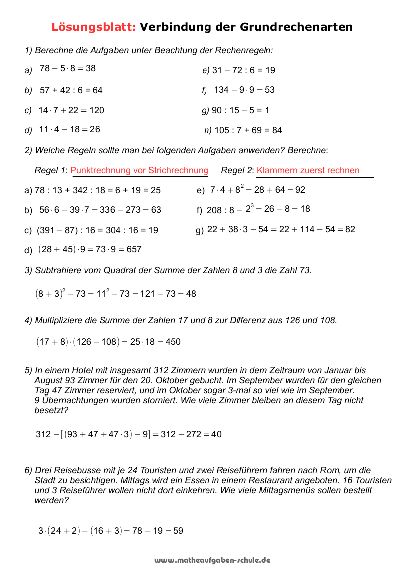 Grundrechenarten Übungen ganzes Mathearbeit Gymnasium Klasse 5