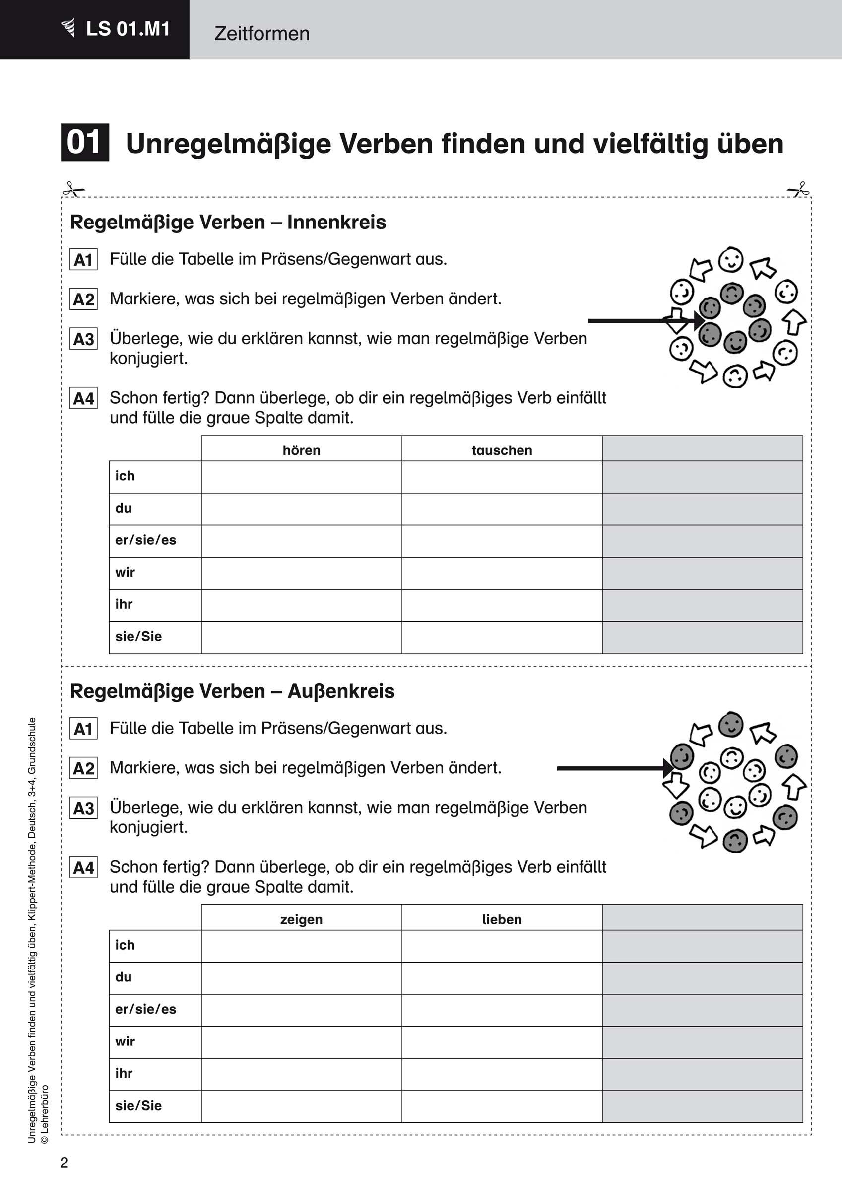 Grundschule Unterrichtsmaterial Deutsch Grammatik für Deutsch 4 Klasse Zeitformen Übungen