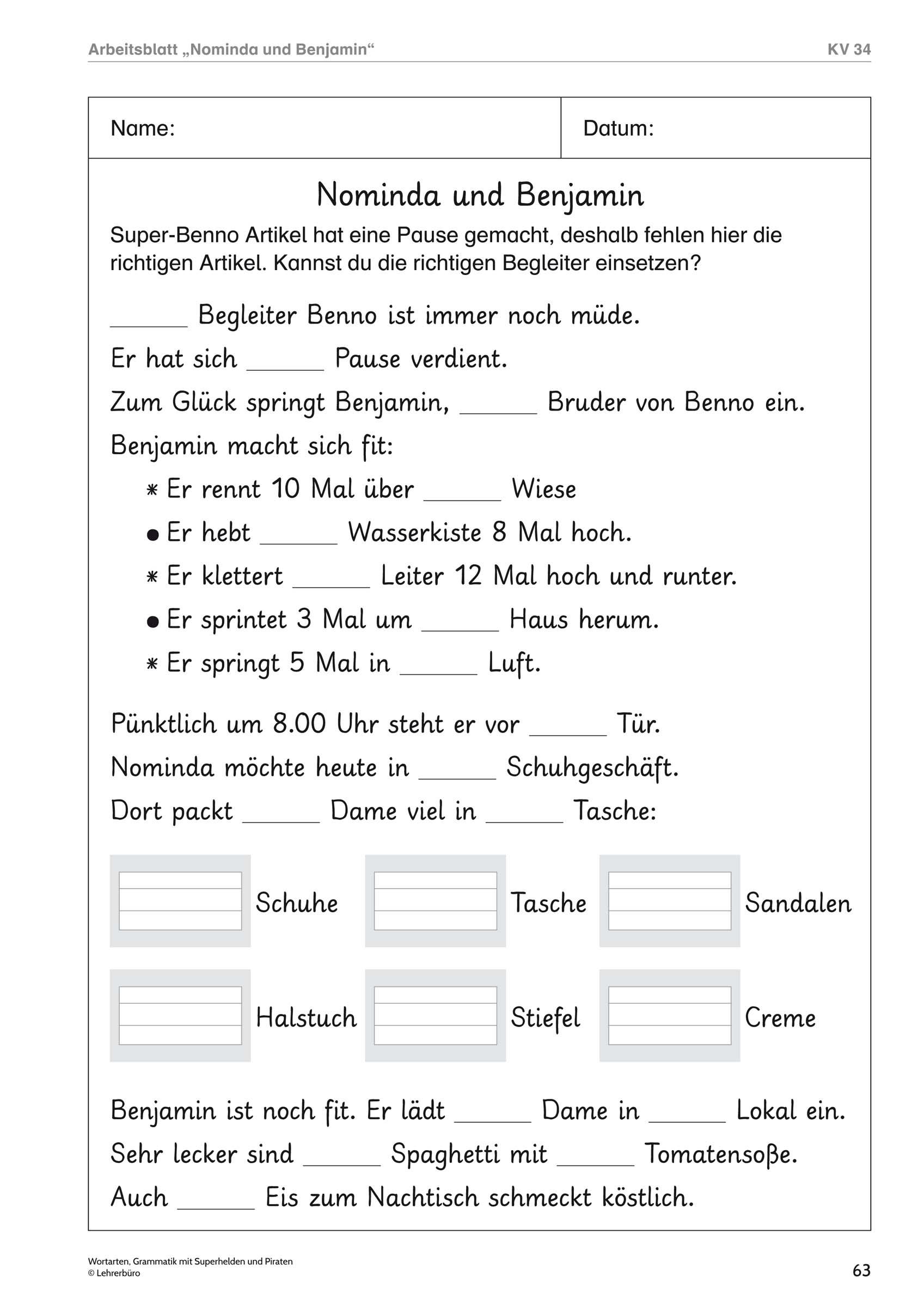 Grundschule Unterrichtsmaterial Deutsch Grammatik in Dritte Klasse Deutsch Arbeitsblätter