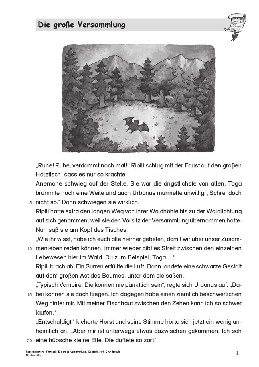 Grundschule Unterrichtsmaterial Deutsch Leseförderung ganzes Lesekompetenz 4 Klasse Arbeitsblätter Kostenlos