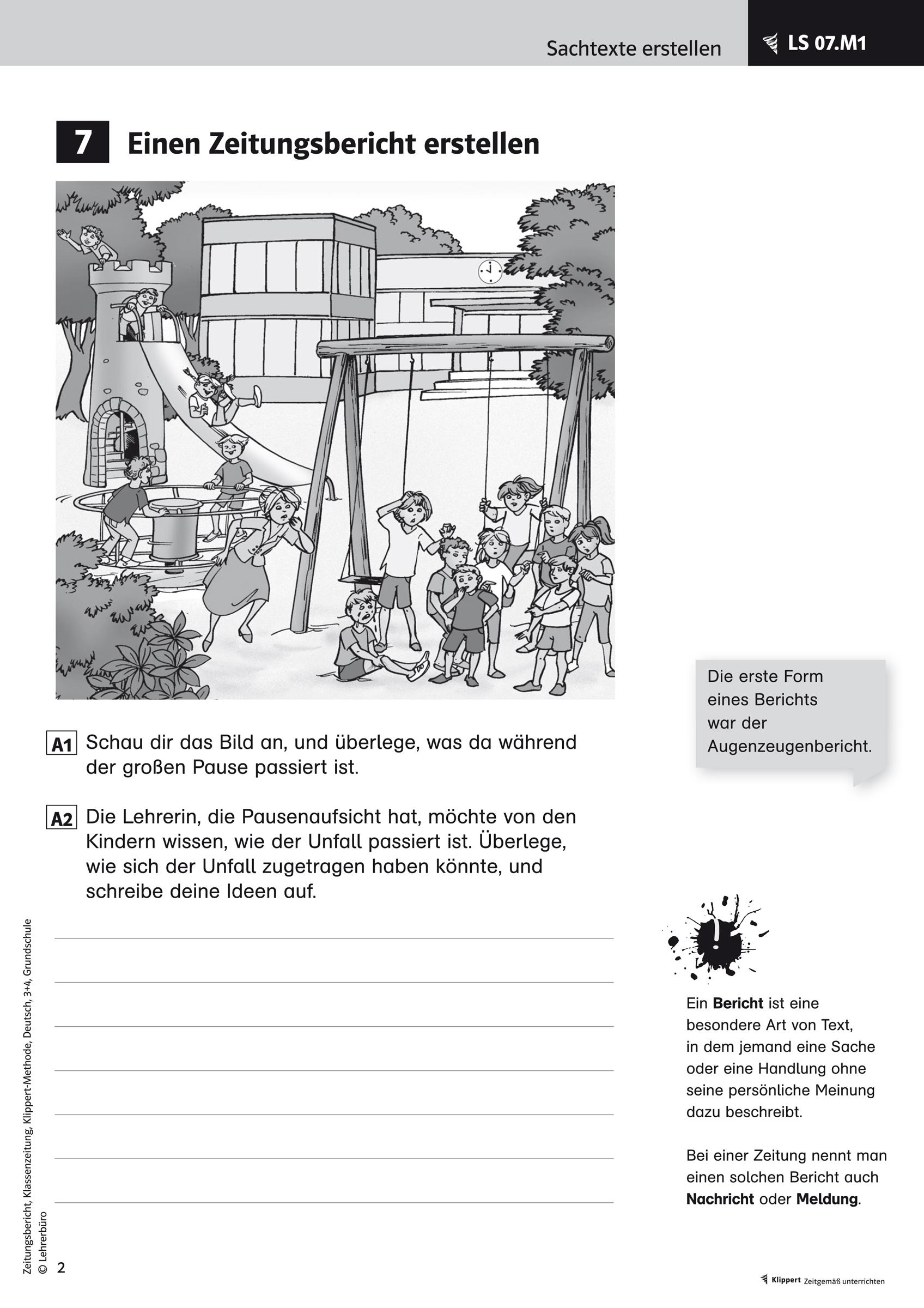 Grundschule Unterrichtsmaterial Deutsch Schreiben bestimmt für Bericht Schreiben Grundschule 4 Klasse Übungen
