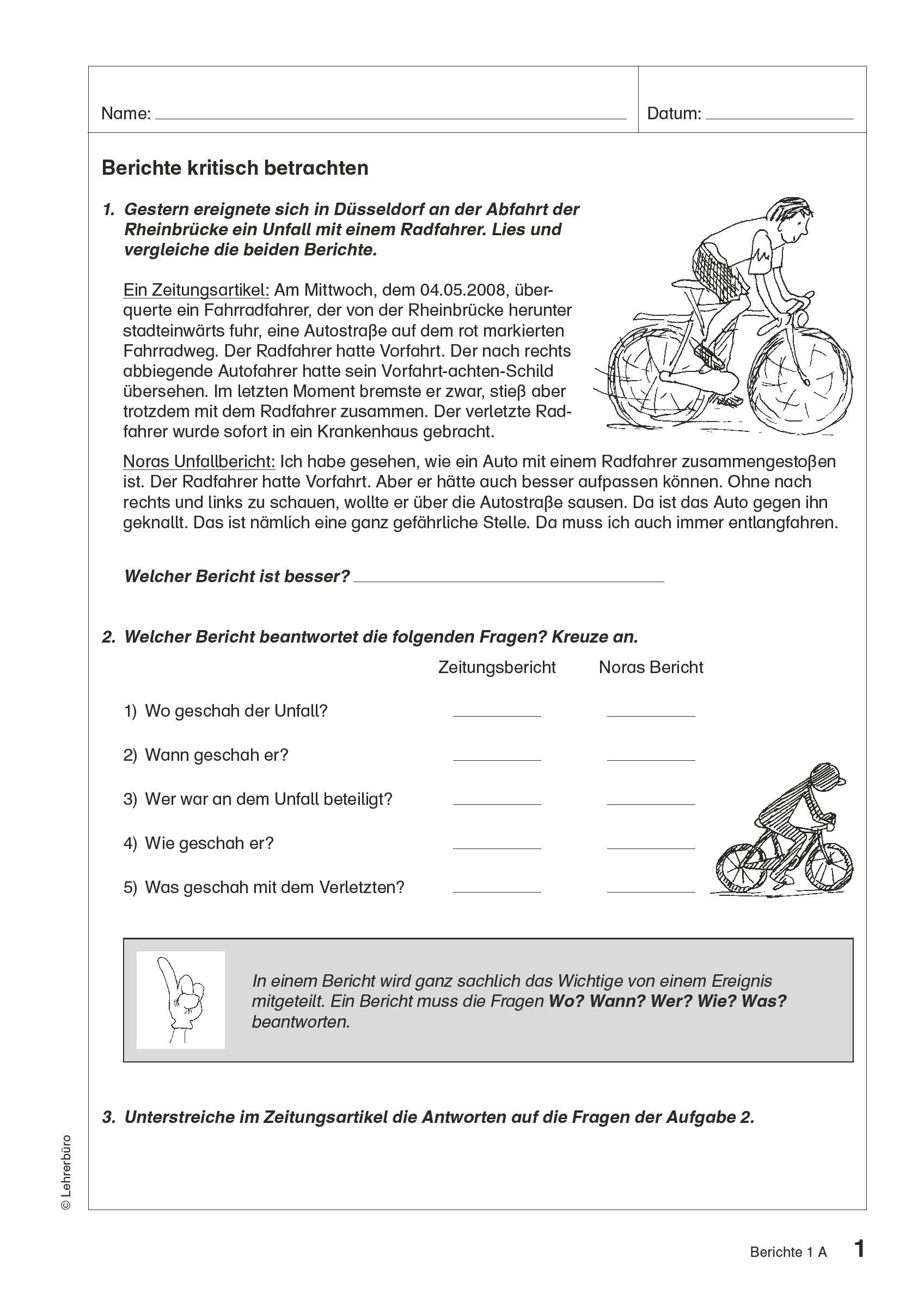 Grundschule Unterrichtsmaterial Deutsch Textgattungen über Bericht Schreiben Grundschule 4 Klasse Übungen