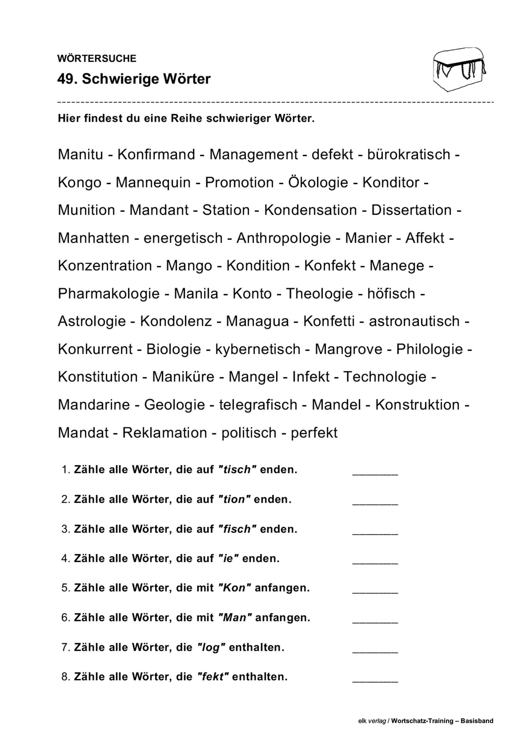 Grundschule Unterrichtsmaterial Deutsch Wortschatz innen Wörter Die Mit I Anfangen