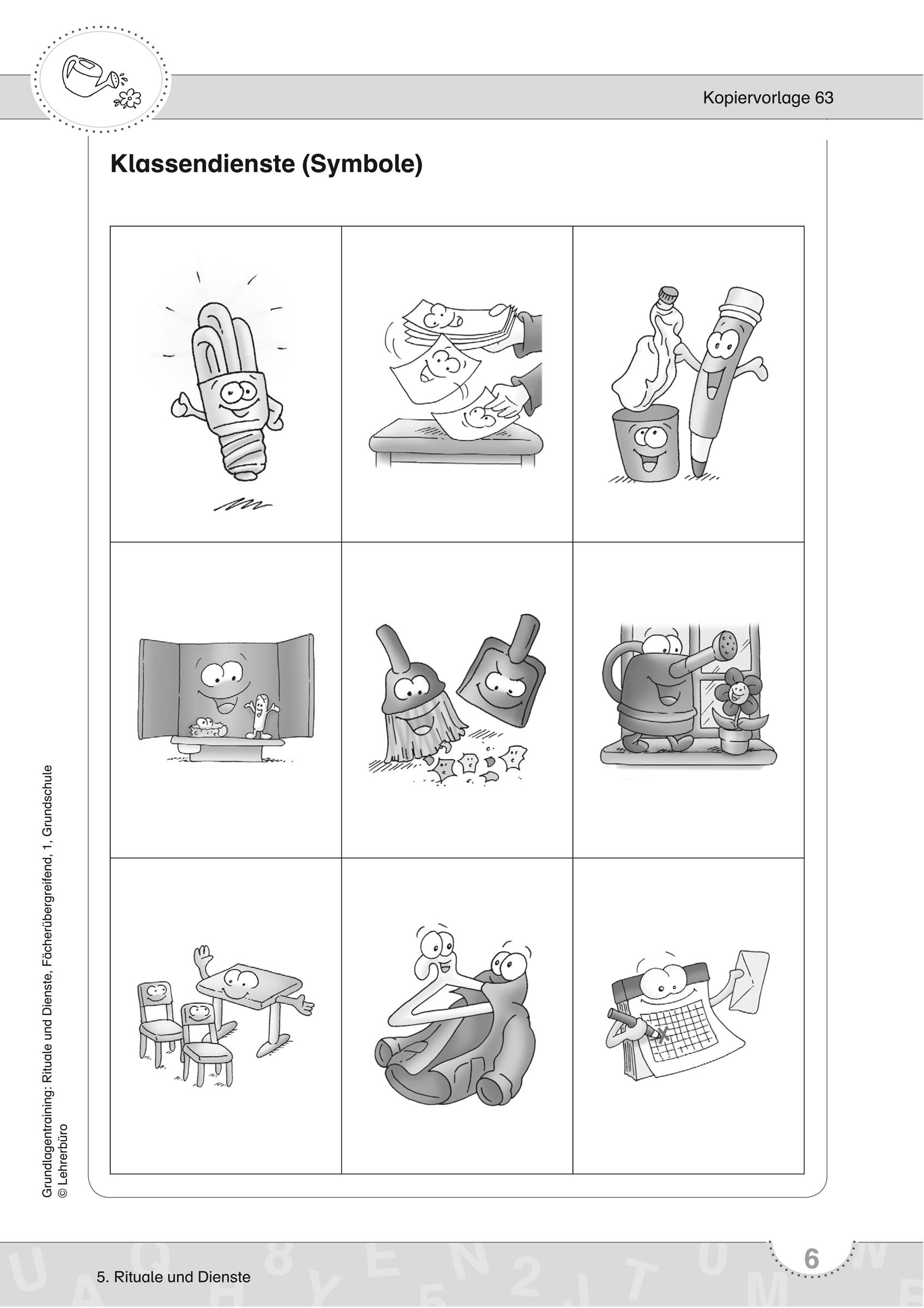 Grundschule Unterrichtsmaterial mit Klassendienste Kopiervorlage