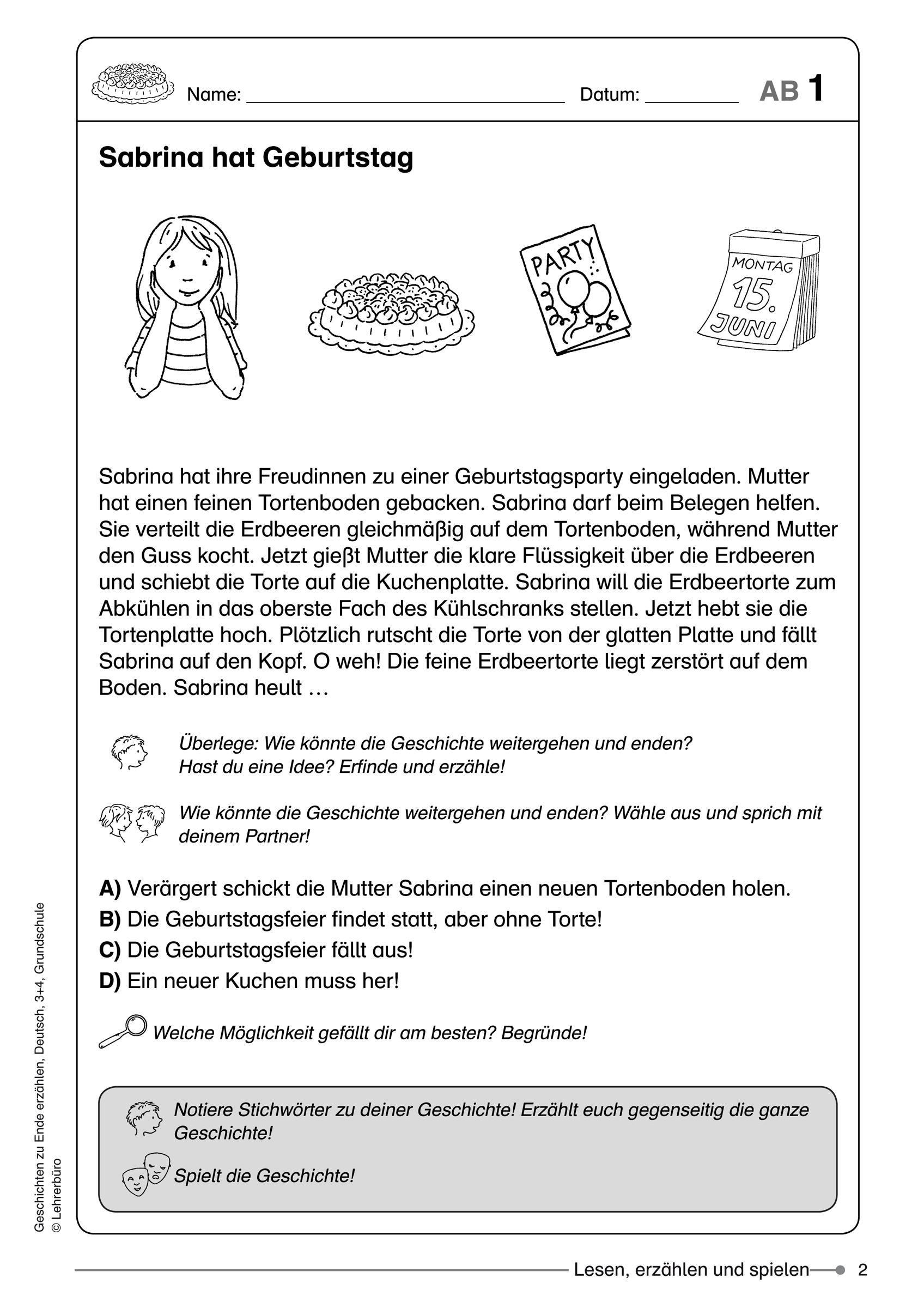 Grundschule Unterrichtsmaterial über 4 Klasse Deutsch Geschichte Schreiben