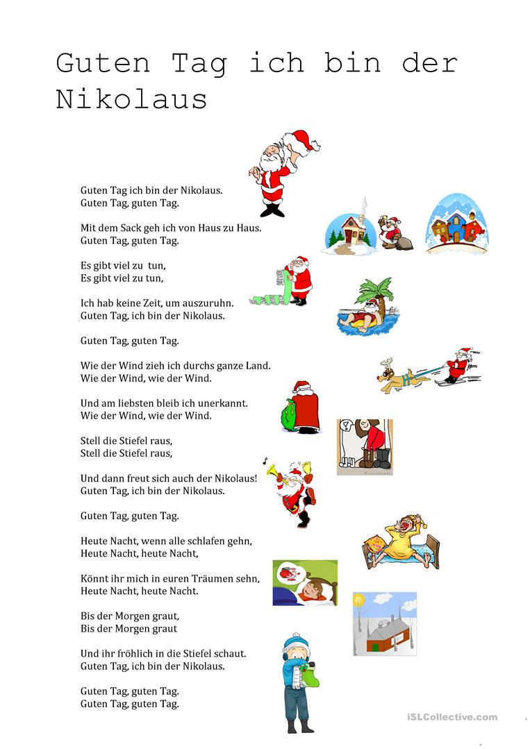 Guten Tag Ich Bin Der Nikolaus Text