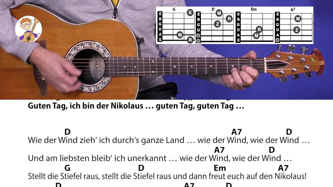 Guten Tag, Ich Bin Der Nikolaus - Rolf Zuckowski, Mit Akkorden & Text Für  Gitarre für Guten Tag Ich Bin Der Nikolaus Akkorde