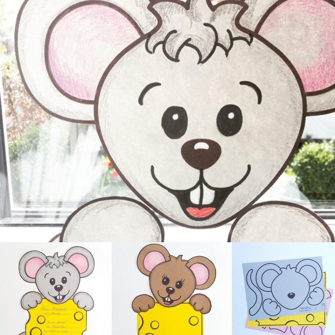 Hallo Mäuschen! Bastelvorlage Zum Ausdrucken Auf Buntpapier bestimmt für Bastelvorlage Zum Ausdrucken