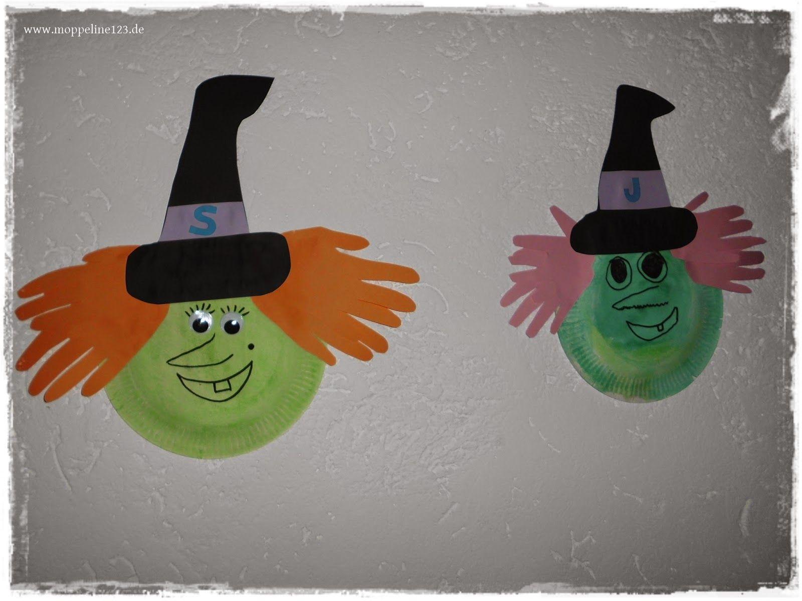 Halloween- Bastelei} Pappteller Geister Und Hexen (Mit mit Bastelvorlage Hexe