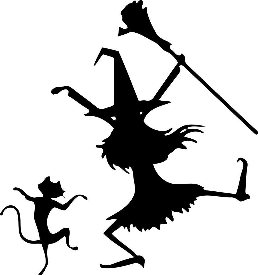 Halloween Dancing Witch And Cat Silhouette, Template in Scherenschnitt Hexe Vorlage