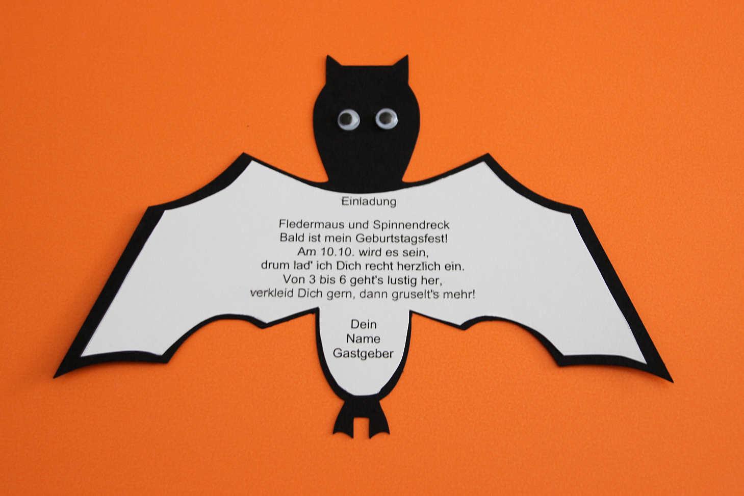 Halloween Einladung Fledermaus ⋆ Kindergeburtstag-Planen.de über Halloween Einladung Vorlagen