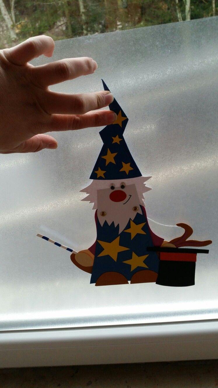 Halloween Fensterbild Zauberer Mit Hase Im Hut | Halloween ganzes Zauberer Bastelvorlage