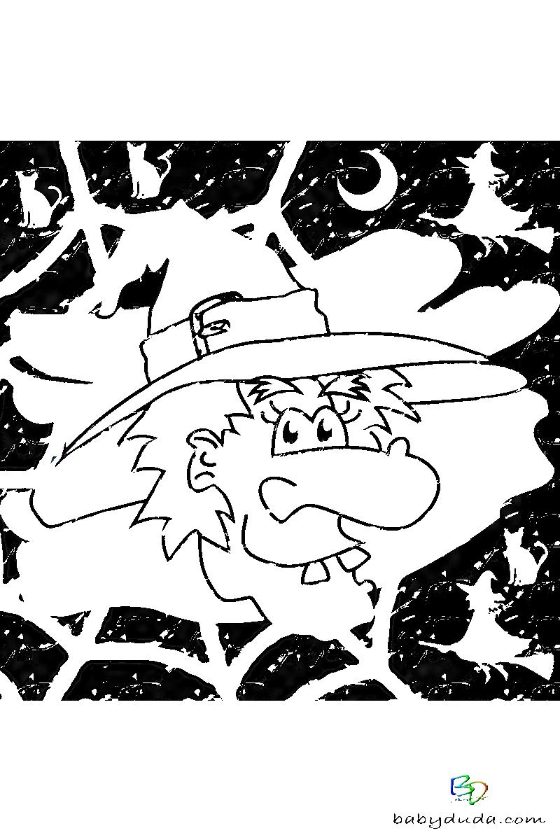 Halloween & Walpurgisnacht Ausmalbilder 👻 | Babyduda » Malbuch verwandt mit Scherenschnitt Hexe Vorlage