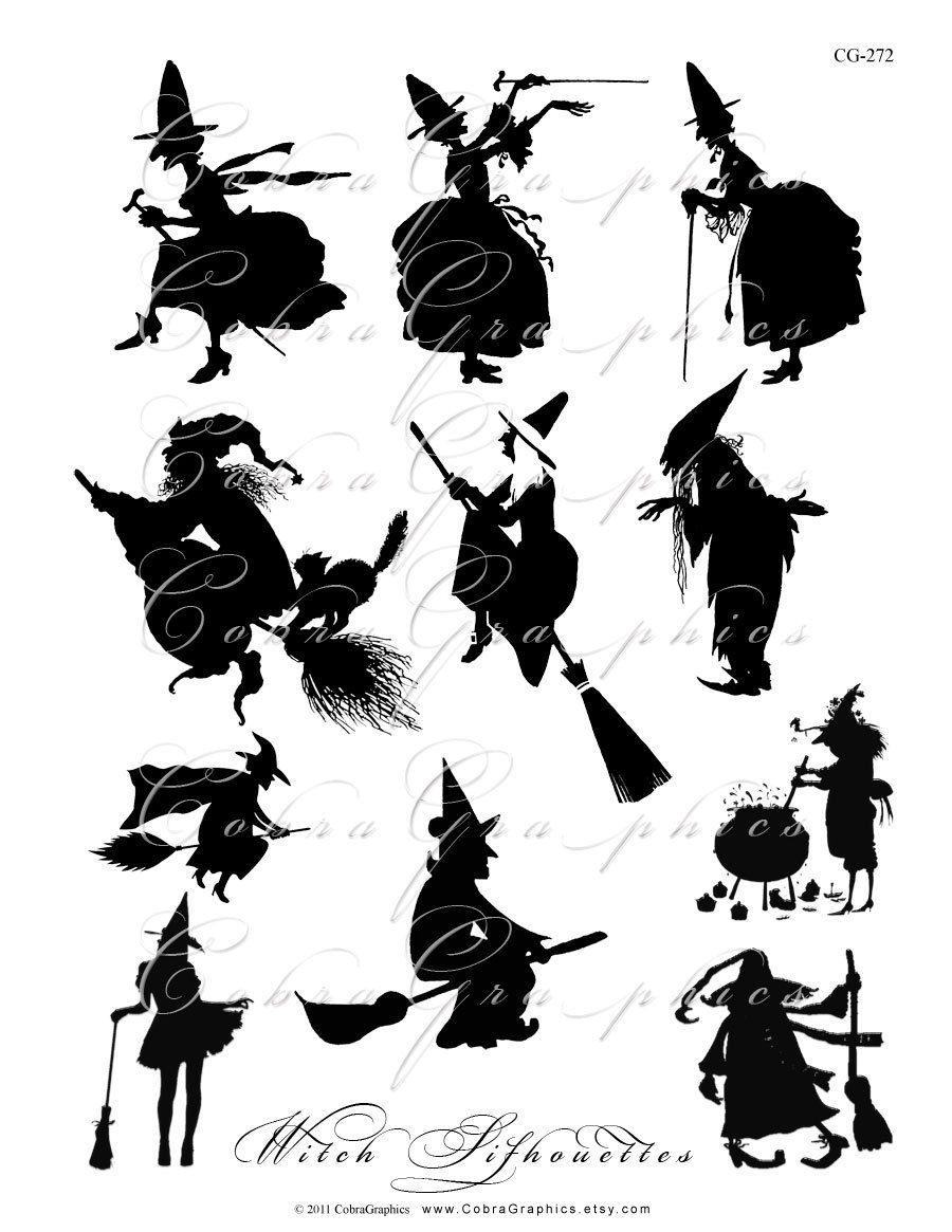 Halloween Witch Silhouettes - Digital Collage Sheet Cg-272 für Scherenschnitt Hexe Vorlage