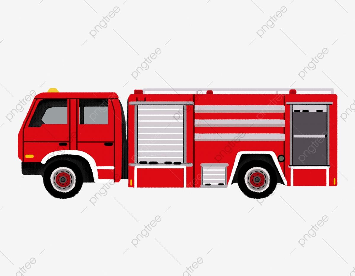 Hand Gezeichnete Feuerwehrauto Feuer Katastrophenhilfe bei Clipart Feuerwehrauto