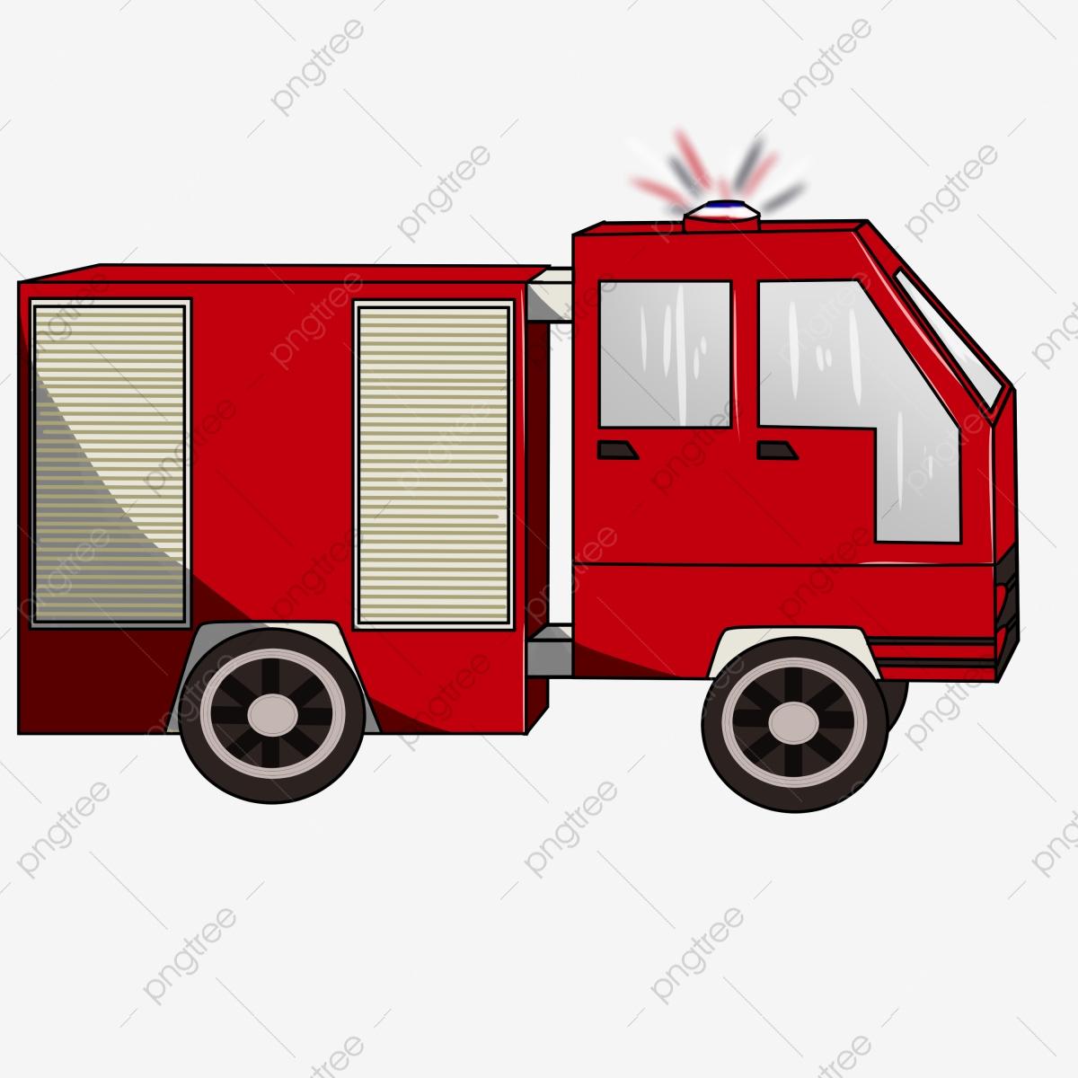 Hand Gezeichnetes Feuerwehrauto Feuer Katastrophenhilfe innen Clipart Feuerwehrauto