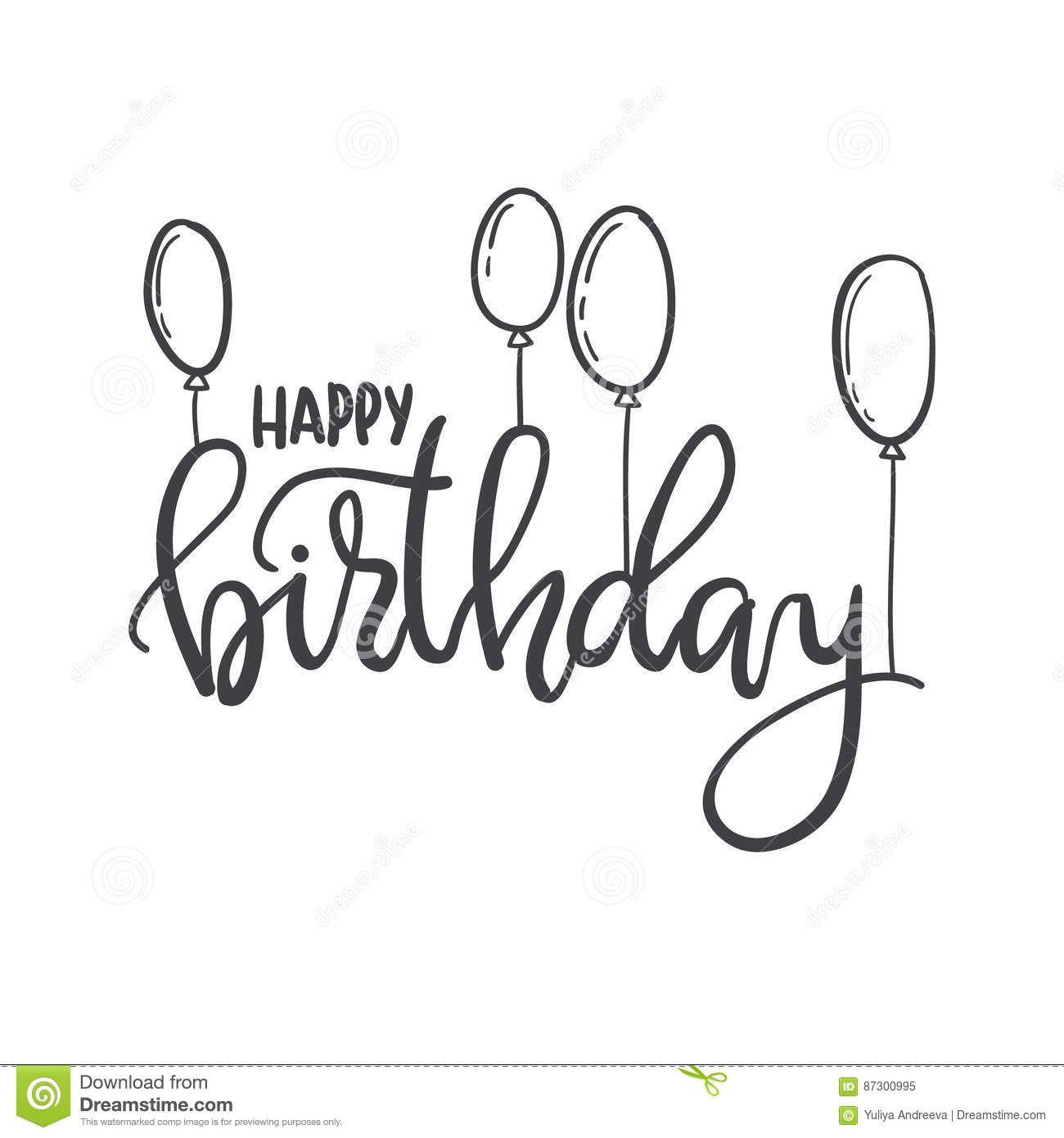 Happy Birthday. Hand Lettering Typography Template. For bestimmt für Happy Birthday Schriftzug Zum Ausmalen