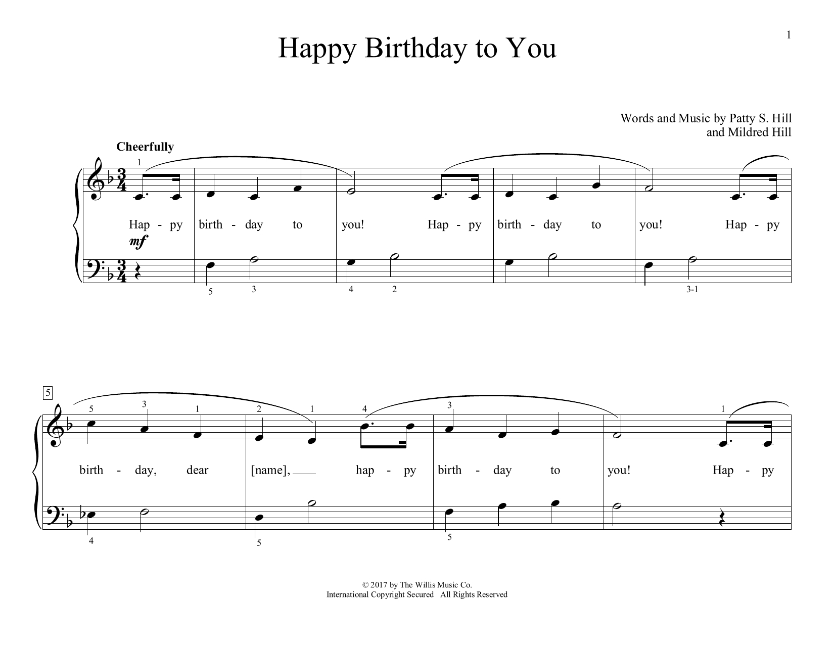 Happy Birthday To You (Arr. Christopher Hussey) Noten | Mildred Hill &  Patty Hill | Lehrmaterial Für Piano über Happy Birthday Noten Akkordeon