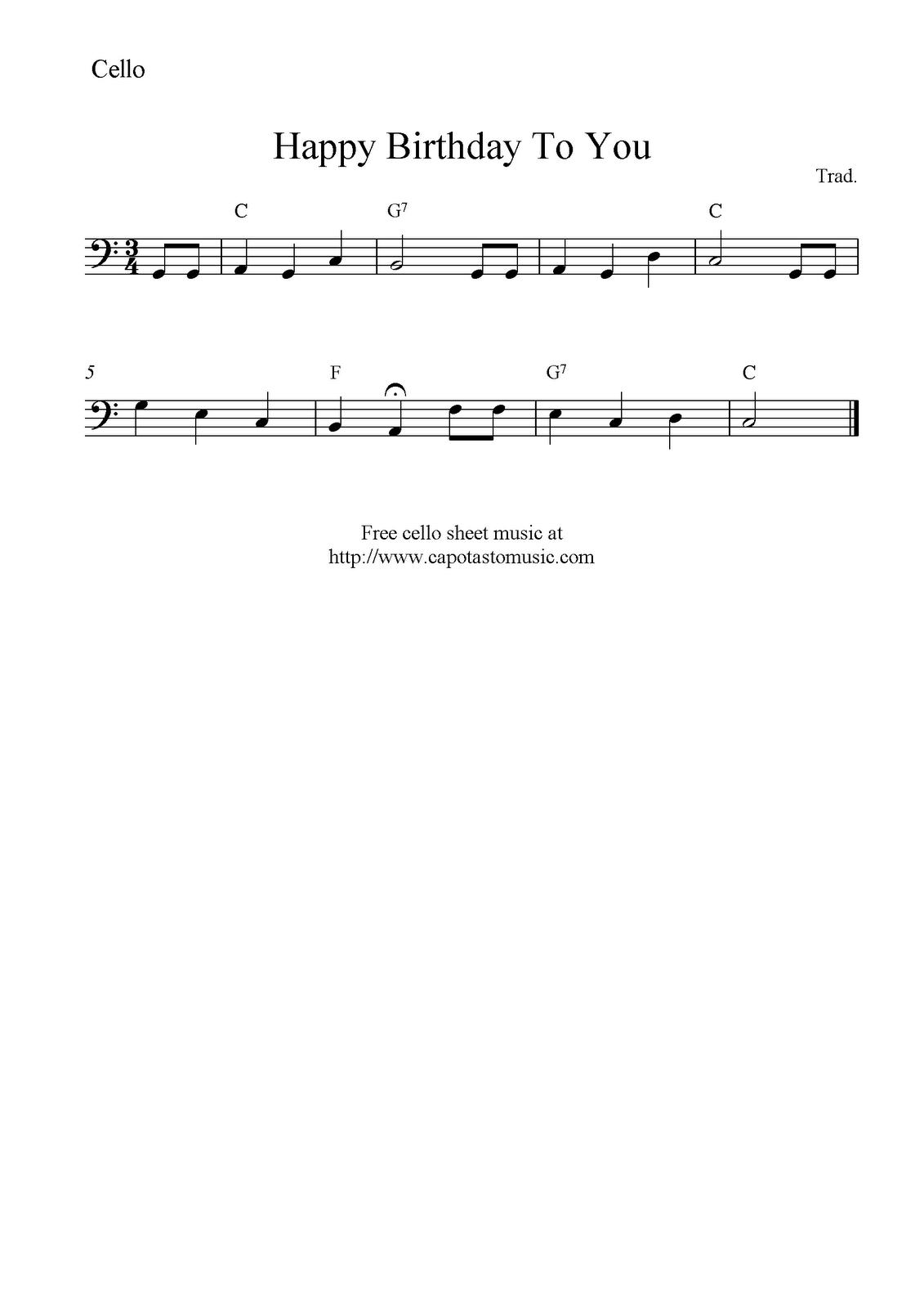Happy Birthday To You, Free Cello Sheet Music Notes (Mit mit Happy Birthday Noten Akkordeon