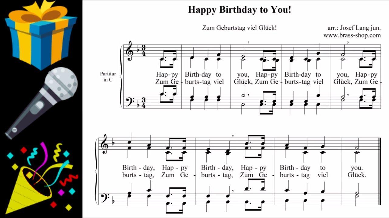 Happy Birthday To You | Sheet Music | Noten Gratis | Kostenlos!🎁 ganzes Happy Birthday Noten Akkordeon