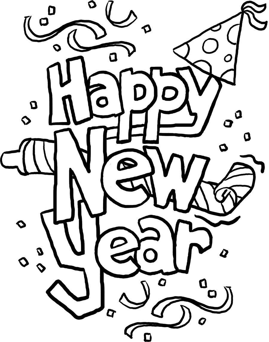 Happy New Year Cards Coloring Page (Mit Bildern bei Silvester Ausmalbilder