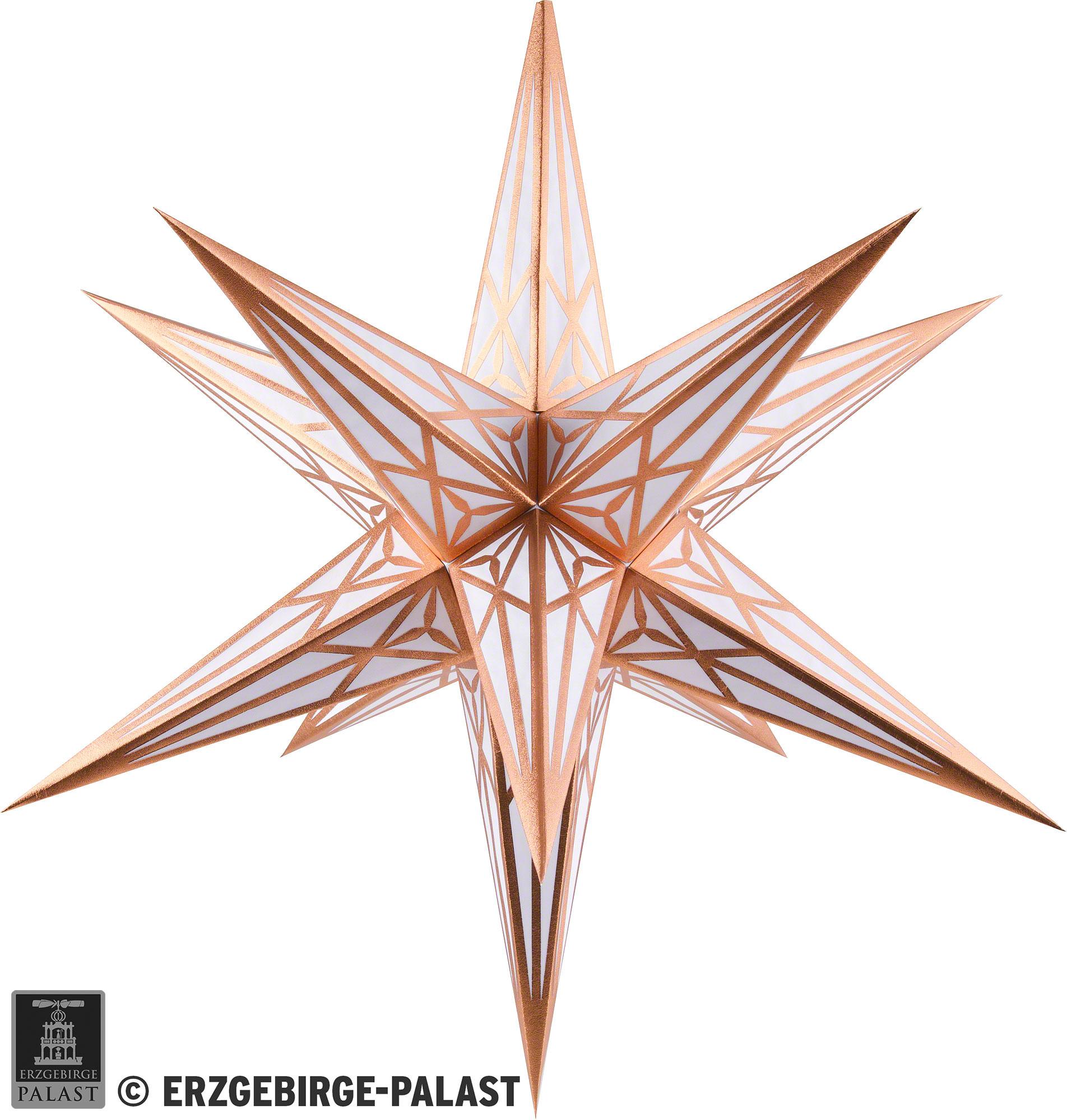 Hartensteiner Weihnachtsstern Für Innen - Weiß Mit Kupfer - 68 Cm in Weihnachtsstern Bild